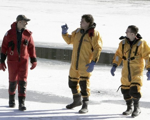 GBFD water rescue team after they cut a 10x10 hole through 6 inches of ice for the plunge.