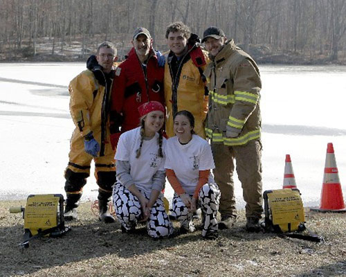 Jaymie & Kristin with Fire Department's Water Rescue Team