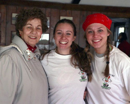 Betty Ann (mother of Elisa Lanera), Jaymie Lanera, & Kristin Collins in clubhouse after plunge.