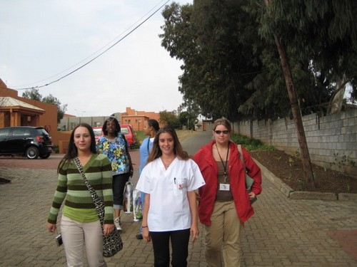 Jaymie and other nursing delegates walking to the Orlando's Children's Home.