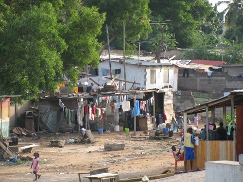 Small village off of the highway in Accra.
