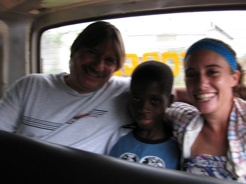 (left to right) James Lanera, Richmond & Jaymie in back of trotro.