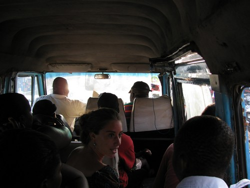 Jaymie in a Trotro, Ghana's form of public transportation. A trotro is a large van that sits 20 people, conducted by a driver and his mate