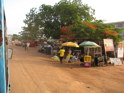 Picture of street side taken from the Trotro on the way to Madina from Abokobi