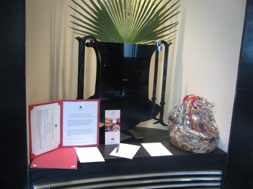 Two of our silent auction items displayed during registration.