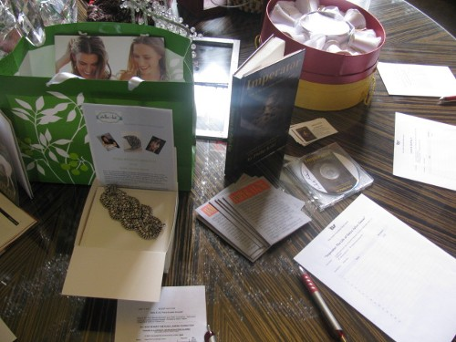 Silent Auction items: Pearl bracelet & Hard Copy Book,