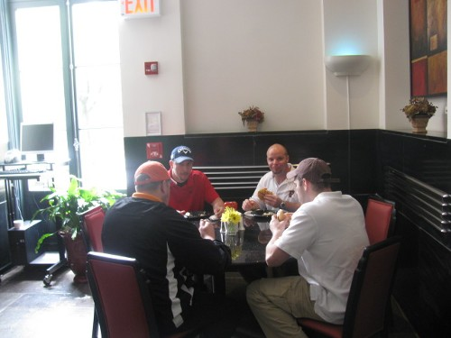 David Pearsall and friends enjoying the BBQ lunch before their tee-off.