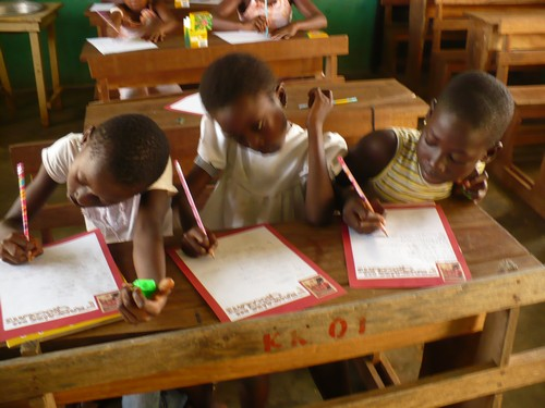 Yvonne, Grace & Abigail (class 2) excited about writing to their new friends