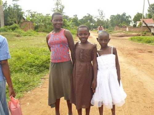 (left to right) Sarah, Sharifa and Katherine, all wearing their new clothes that Jaymie had given them.