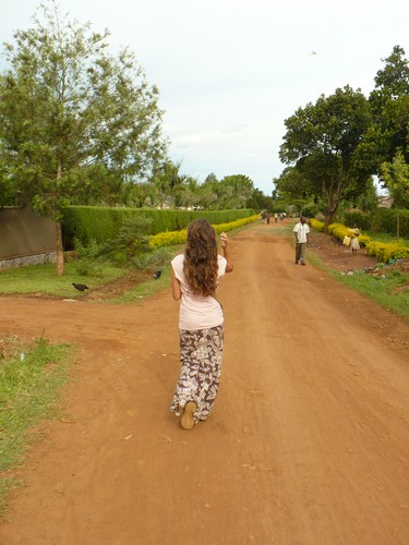 Walking home from teaching at the orphange.