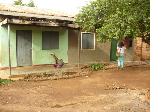The front of the house where Jaymie lived. The dark green door all the way to the right was her small bedroom that she shared with another volunteer.
