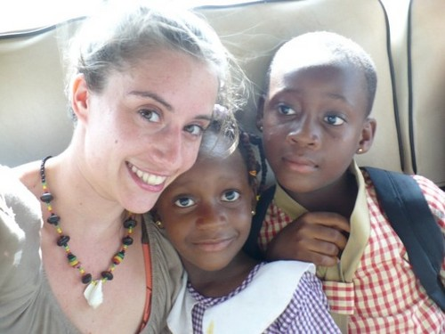 Jaymie's student, Emmanuella (right) & her little sister with Jaymie in trotro.